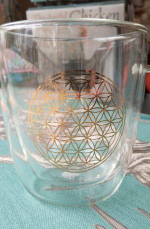 Glass Tea Mug - Gold Mandala
